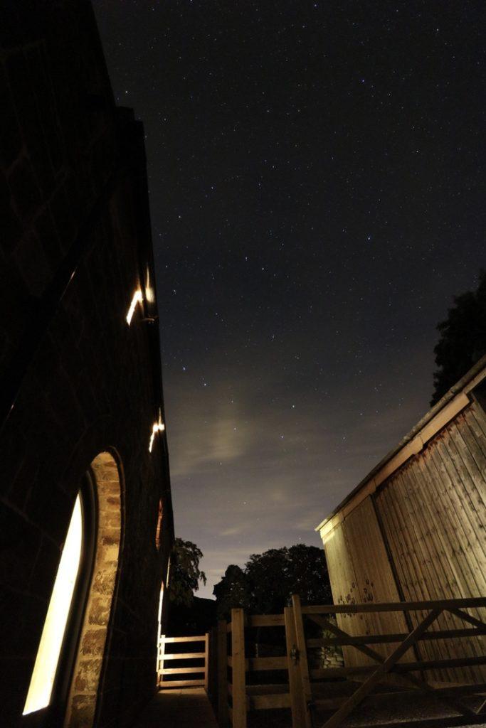 Dusk sees the beginning of the dark night skies around Crag House Farm