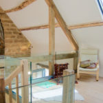 Light and airy green oak and glass gallery