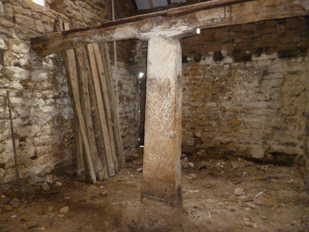 Ancient standing stone in a Yorkshire barn