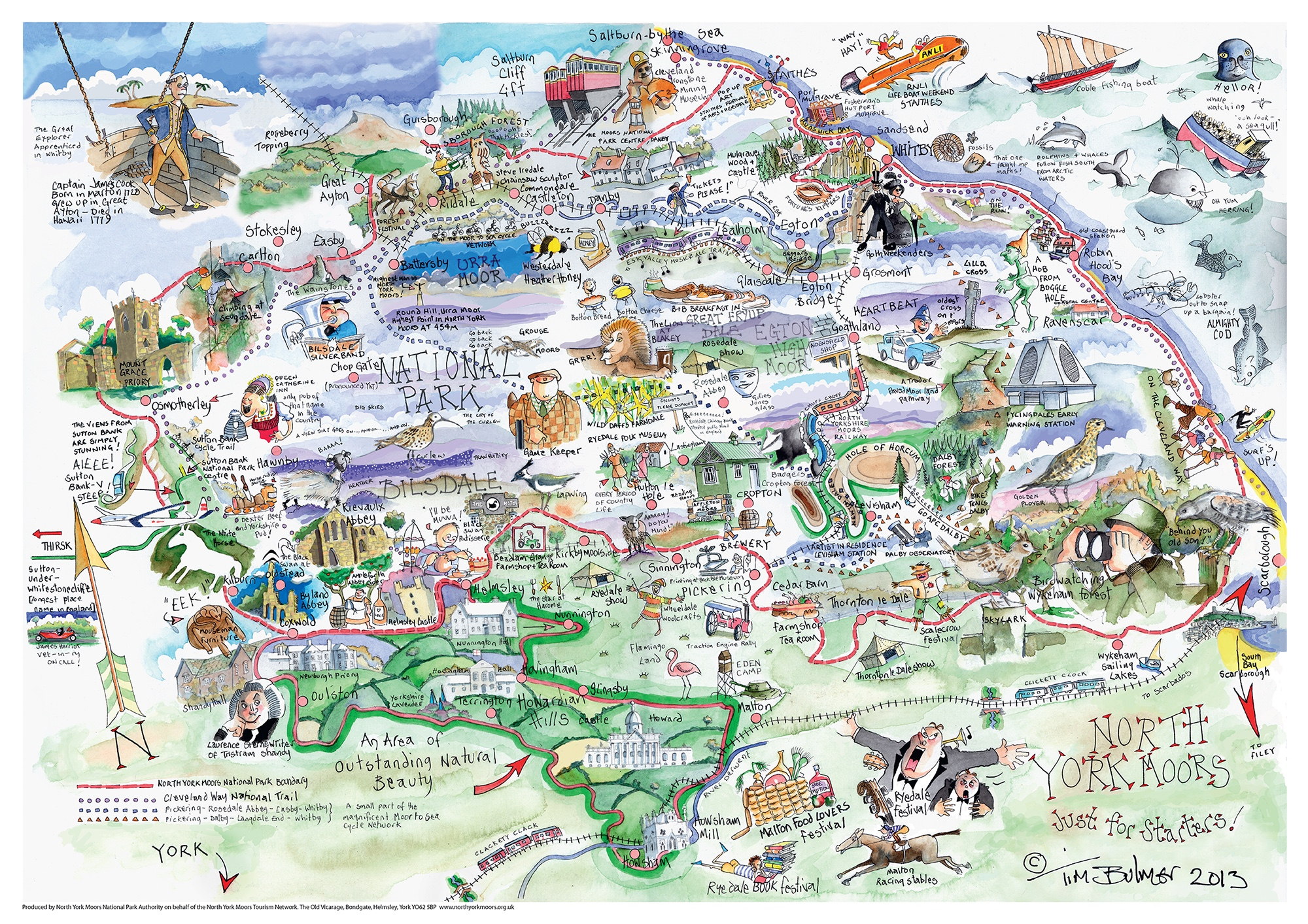 Map of North York Moors Drawn by Tim Bulmer