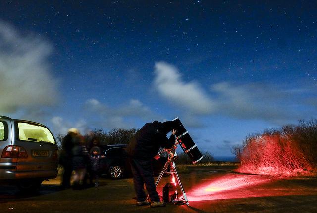 Gazing at the stars through a telescope